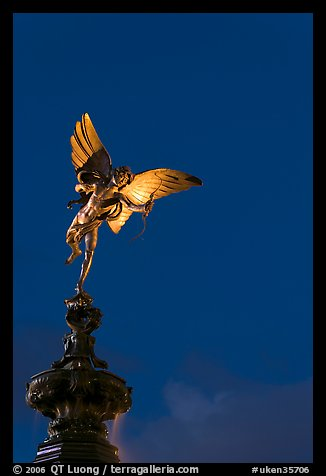 Eros statue at night, Piccadilly Circus. London, England, United Kingdom (color)