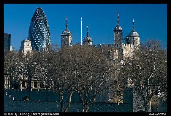 Tower of London and 30 St Mary Axe building (The Gherkin). London, England, United Kingdom (color)