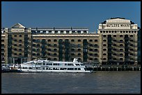 Butler Wharf and tour boat on the Thames. London, England, United Kingdom (color)