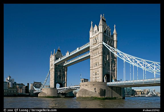 Tower Bridge at river level, morning. London, England, United Kingdom (color)
