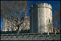 Crenallated wall and tower, Tower of London. London, England, United Kingdom (color)