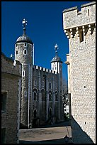 Salt Tower, central courtyard, and White Tower, the Tower of London. London, England, United Kingdom (color)