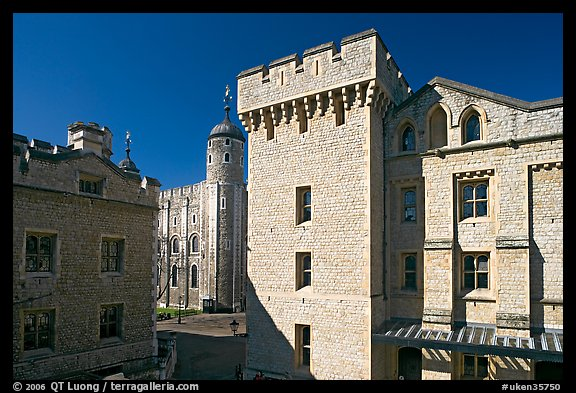 Salt Tower, central courtyard, and White Tower, the Tower of London. London, England, United Kingdom
