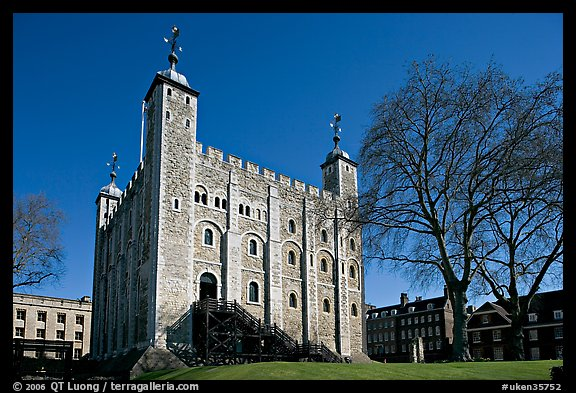 White Tower and tree, the Tower of London. London, England, United Kingdom (color)