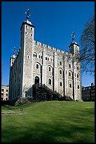 White Tower and lawn, the Tower of London. London, England, United Kingdom (color)