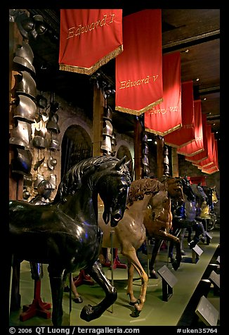 Armors and Models of royal horses,  the White House, Tower of London. London, England, United Kingdom (color)