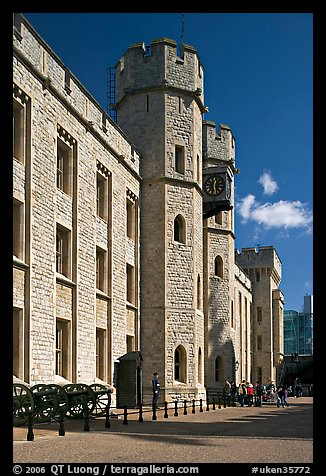 Towers and sentry, The Jewel House, part of the Waterloo Barracks, Tower of London. London, England, United Kingdom (color)