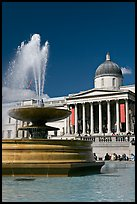 Fountain and National Gallery, Trafalgar Square. London, England, United Kingdom (color)