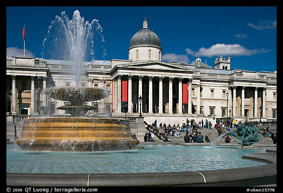 Fountain ( designed by Lutyens in 1939) and National Gallery, Trafalgar Square. London, England, United Kingdom (color)