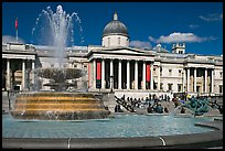 Fountain ( designed by Lutyens in 1939) and National Gallery, Trafalgar Square. London, England, United Kingdom