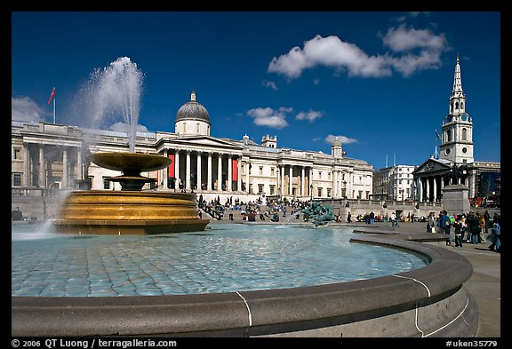 Fountain, National Gallery, and  St Martin's-in-the-Fields church, Trafalgar Square. London, England, United Kingdom (color)