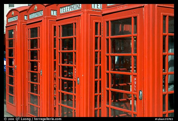 Row of Red phone booths. London, England, United Kingdom (color)