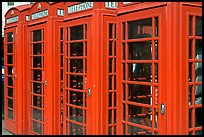 Row of Red phone booths. London, England, United Kingdom ( color)