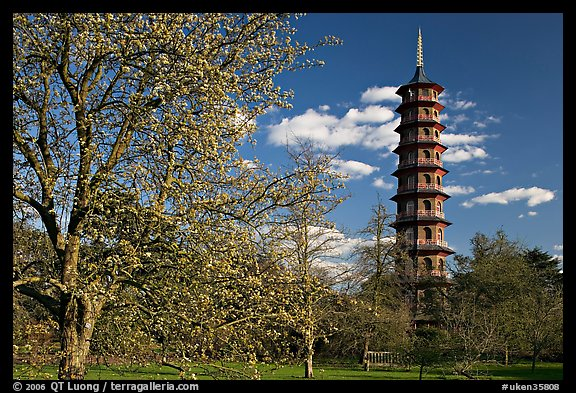 Great Pagoda designed after the Chinese Taa. Kew Royal Botanical Gardens,  London, England, United Kingdom (color)