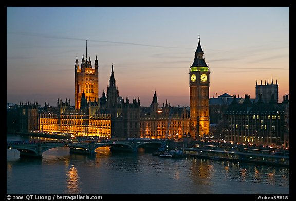 Westminster Palace at sunset. London, England, United Kingdom (color)