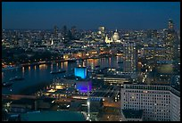 Aerial view of central London at dusk with Saint Paul and Thames River. London, England, United Kingdom (color)