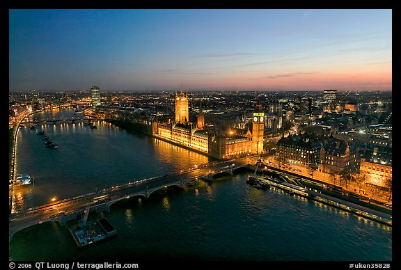 Aerial view of Thames River, Westmister Bridge and Palace at dusk. London, England, United Kingdom (color)