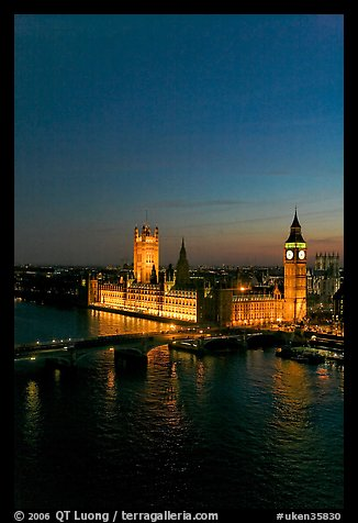 Thames River and Houses of Parliament at night seen from the London Eye. London, England, United Kingdom (color)