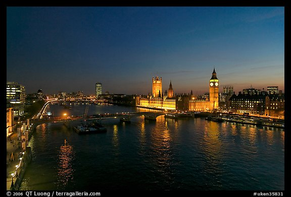 River Thames and Westmister Palace at night. London, England, United Kingdom (color)