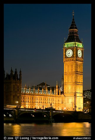 Big Ben and Westminster Bridge at night. London, England, United Kingdom (color)