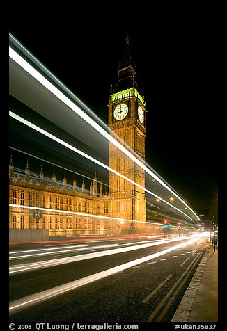Lights from a moving bus, Houses of Parliament, and Big Ben at night. London, England, United Kingdom (color)
