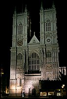 Westminster Abbey facade at night. London, England, United Kingdom (color)