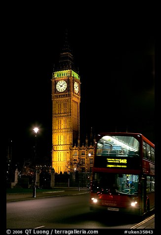 Double-decker bus and Big Ben at night. London, England, United Kingdom (color)