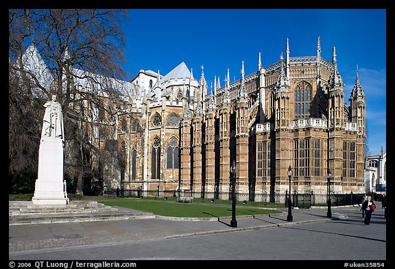 Westminster Abbey gothic spires. London, England, United Kingdom (color)
