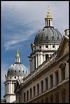 Twin domes of the Greenwich Hospital (formerly the Royal Naval College). Greenwich, London, England, United Kingdom (color)