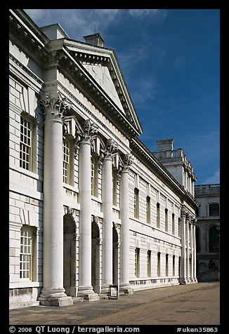Facade in the Grand Square of the Greenwich Hospital. Greenwich, London, England, United Kingdom (color)
