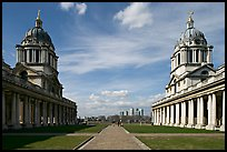 Symetrical domes of the Old Royal Naval College, designed by Christopher Wren. Greenwich, London, England, United Kingdom (color)