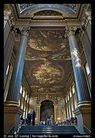 Painted Hall of Greenwich Hospital, decorated by Sir James Thornhill in 19 years. Greenwich, London, England, United Kingdom