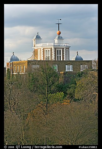 Flamsteed House with the Red Time Ball. Greenwich, London, England, United Kingdom (color)