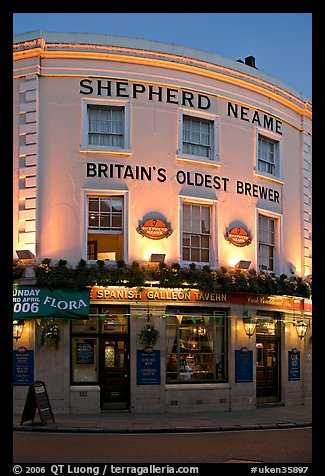 Spanish Galleon Tavern and  Shepherd Neame brewer, Britain's oldest. Greenwich, London, England, United Kingdom (color)