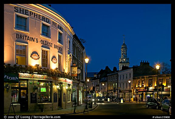 Tavern, street, and church at night. Greenwich, London, England, United Kingdom (color)