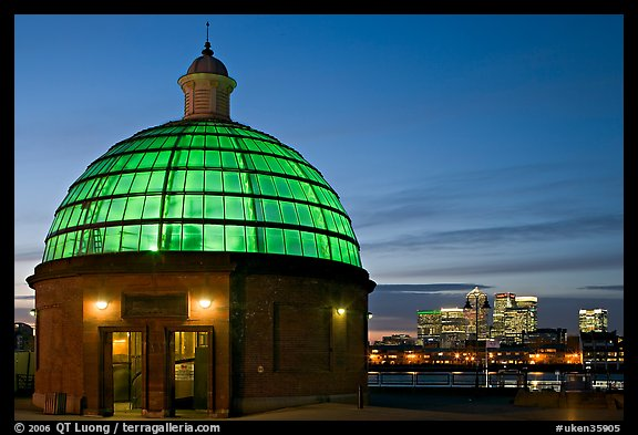 Entrance of foot tunnel under the Thames and Docklands buildings at dusk. Greenwich, London, England, United Kingdom (color)