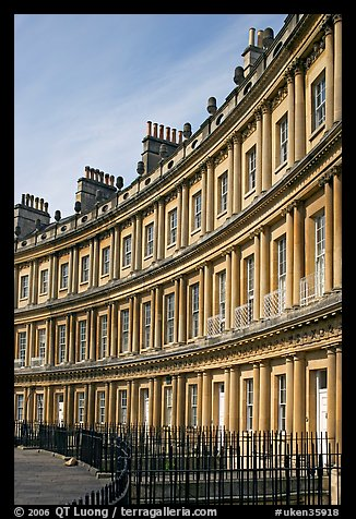 Indentical curved facades with three orders of architecture on each floor, the Royal Circus. Bath, Somerset, England, United Kingdom (color)