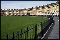 Fence, lawn, and Royal Crescent. Bath, Somerset, England, United Kingdom