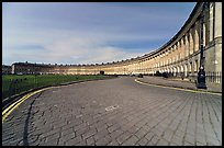 Cobblestone pavement and curved facade of Royal Crescent. Bath, Somerset, England, United Kingdom ( color)