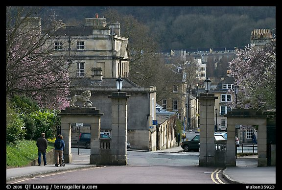 Gate at the entrance of Royal Victoria gardens, and street. Bath, Somerset, England, United Kingdom (color)