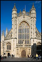 West front of Abbey. Bath, Somerset, England, United Kingdom ( color)