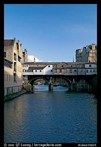 River Avon and Pulteney Bridge, completed in 1773. Bath, Somerset, England, United Kingdom (color)