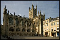 Public square and Bath Abbey, late afternoon. Bath, Somerset, England, United Kingdom (color)