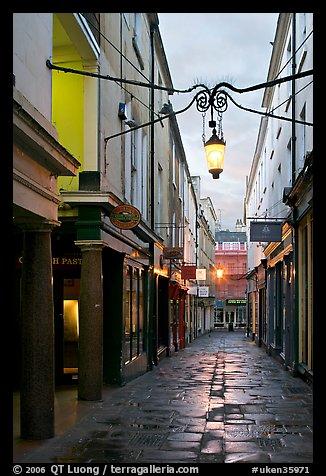 Narrow alley at dawn. Bath, Somerset, England, United Kingdom (color)