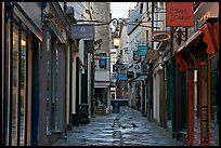 Shops lining narrow street. Bath, Somerset, England, United Kingdom ( color)