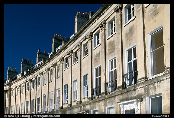 Detail of the Lansdown Crescent Crescent townhouses. Bath, Somerset, England, United Kingdom (color)