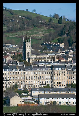 Townhouses and church. Bath, Somerset, England, United Kingdom (color)
