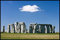 Stone circle and isolated cloud, Stonehenge, Salisbury. England, United Kingdom (color)