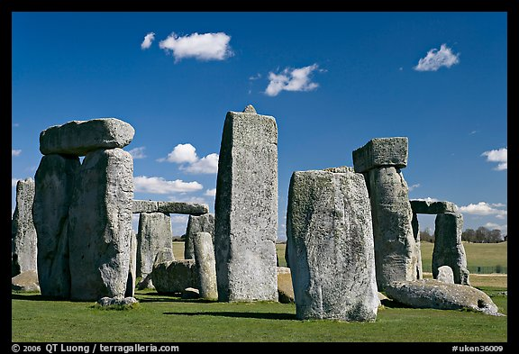 Sarsen trilithons surrounded by bluestones, Stonehenge, Salisbury. England, United Kingdom (color)