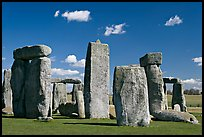 Sarsen trilithons surrounded by bluestones, Stonehenge, Salisbury. England, United Kingdom ( color)